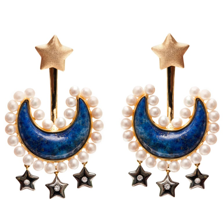 Lapis Lazuli and Pearl Vermeil Gold Earrings