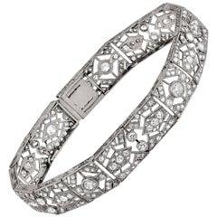 Platinum Art Deco Bracelet Featuring 5.5 Carat of Rose and Old Mine Cut Diamonds