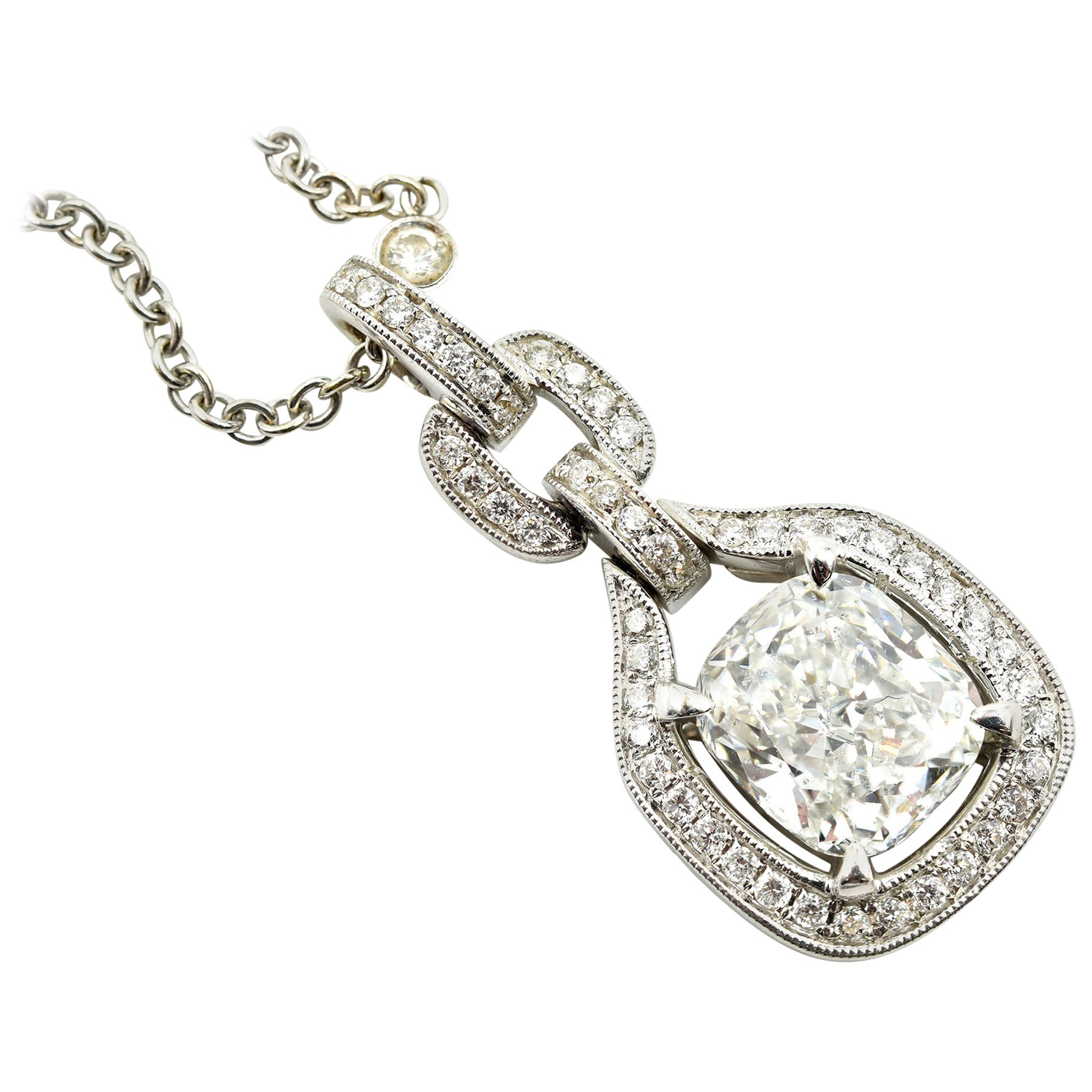 d2c46e36d 2.20 Carat Cushion Cut Diamond Pendant on Diamond Necklace 18 Karat White  Gold For Sale at 1stdibs