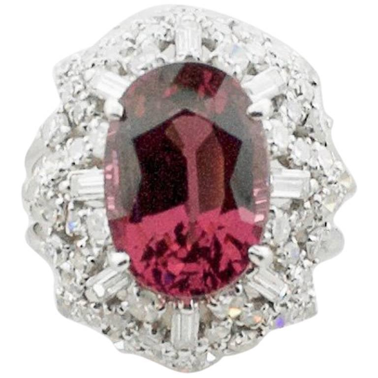 1950s Spinel and Diamond Cocktail Ring