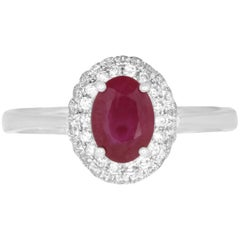 .78 Carat Oval Ruby and 0.48 Carat Diamond Ring