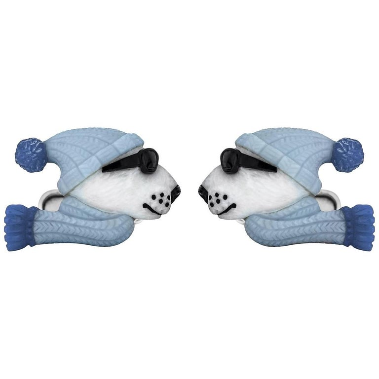 White and Blue Opal Onyx Agate Gold Hand-Carved Polar Bear Cufflinks