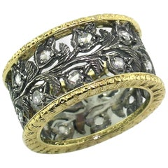 18kt Gold and Sterling Florentine Engraved Diamond Eternity Band, Made in Italy