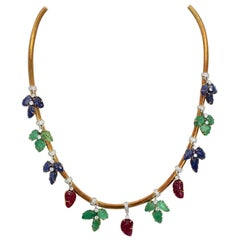Necklace Diamonds Carved Emeralds, Rubies, Sapphires 18 Karat Gold