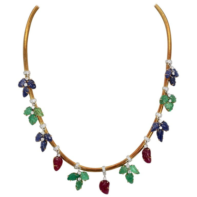 Necklace Diamonds Carved Emeralds, Rubies, Sapphires 18 Karat Gold