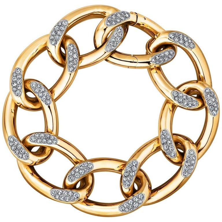 Vintage Cartier Paris Diamond Gold Link Bracelet