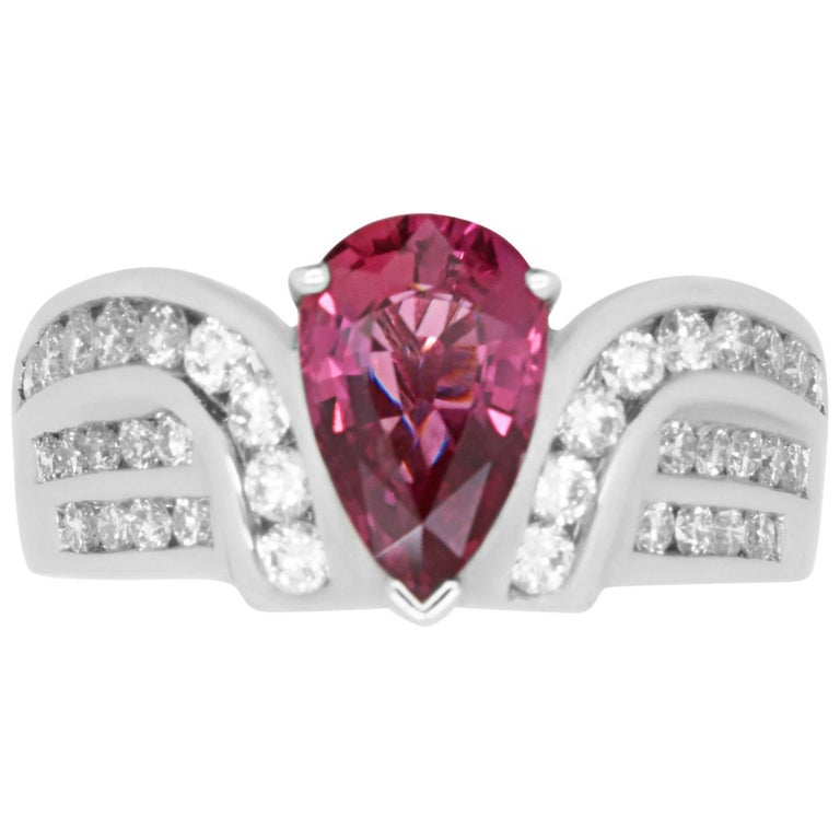 1.97 Pear Shaped Ruby and 0.90 Carat Diamond Ring
