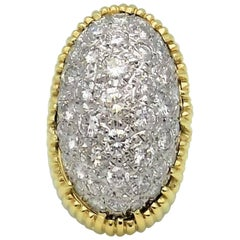 Pave' Diamond and 18 Karat Yellow/White Gold Dome Ring