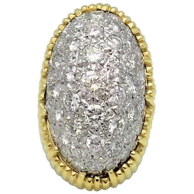 Pave' Diamond and 18 Karat Yellow/White Gold Dome Ring