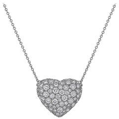 Diamond Platinum Heart Pendant Necklace