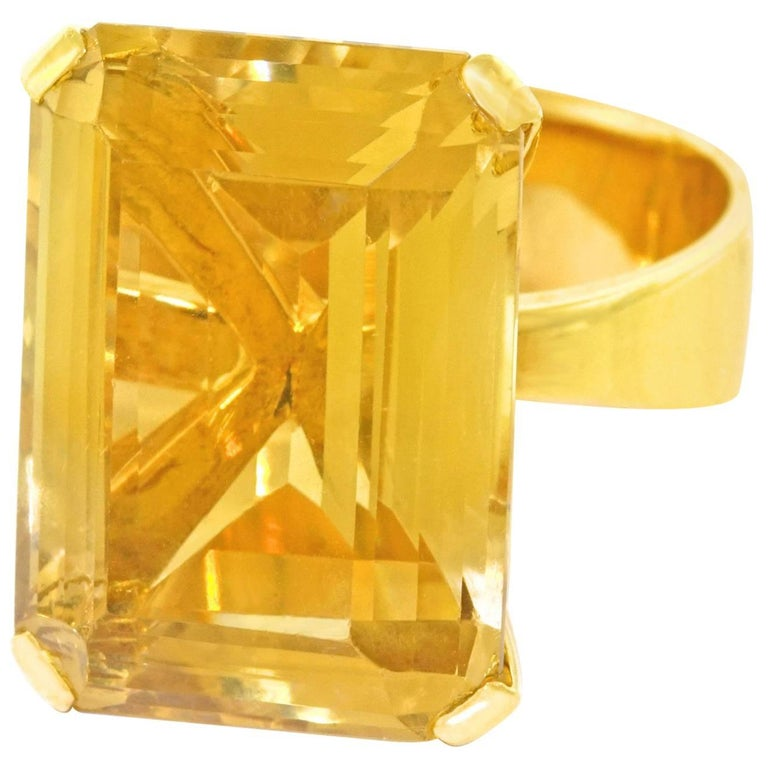 1970s Modernist Citrine Ring