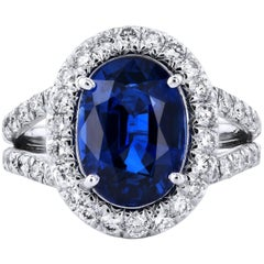 H & H 4.37 Carat Blue Sapphire and Diamond Split-Shank Ring