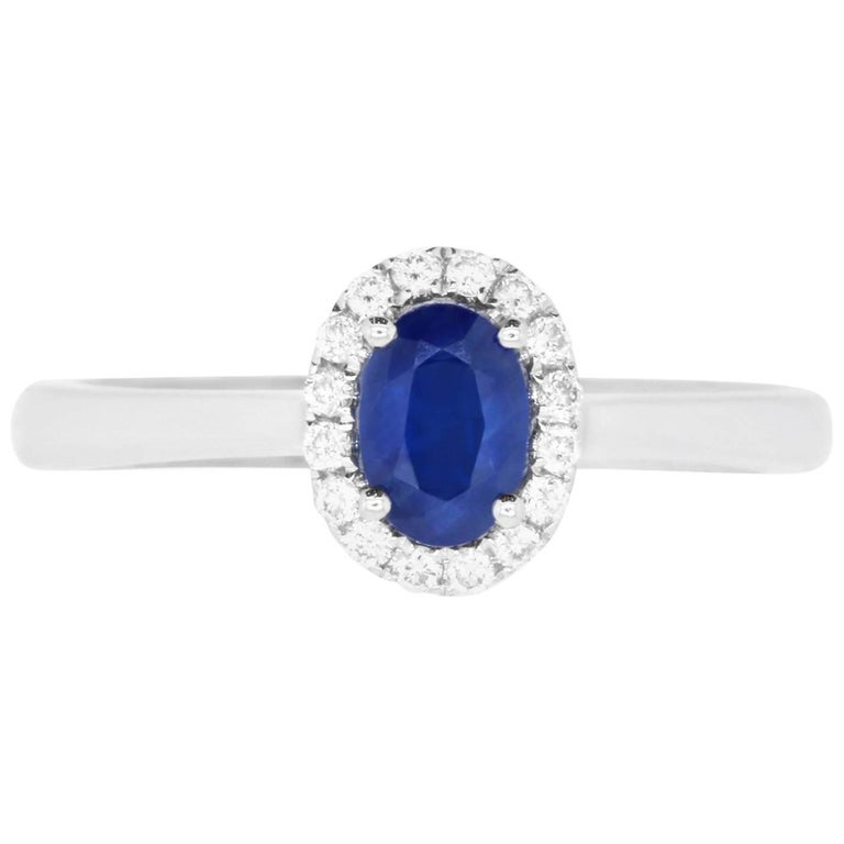 .64 Carat Oval Sapphire and 0.12 Carat Diamond Ring