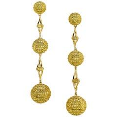 One-of-a-Kind Intense Fancy Yellow Diamond Dangling Earrings