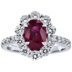 H & H 2.13 Carat Vivid Burma Ruby and Diamond Ring