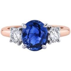 H & H 2.80 Carat Ceylon Blue Sapphire and Diamond Ring