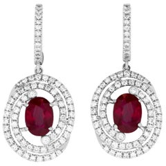 2.45 Carat Oval Ruby and .75 Carat Diamond Earrings