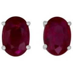 1.06 Carat Oval Ruby Stud Earring