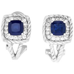 2.95 Carat Cushion Sapphire and .55 Carat Diamond Earrings