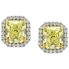Mark Broumand 3.86 Carat Fancy Yellow Radiant Cut Diamond Halo Earrings