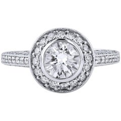 GIA Certified 1.02 Carat Brilliant Cut & Bezel Set Halo Diamond Engagement Ring
