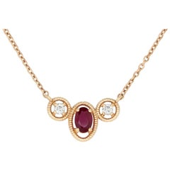 Ruby and Diamond Delicate Necklace