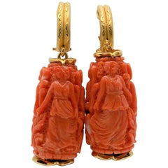 Pair of 18 Karat Yellow Gold Carved Coral Pendant Earrings