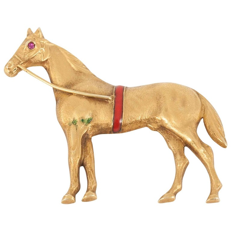 Brooch, 14 Karat Gold and Ruby, Enamel Horse, circa 1900
