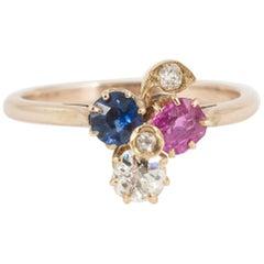 Ring Ruby, Sapphire, Diamond 19th Century Three-Leaf Clover, English, circa 1900