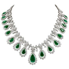 Two-Tone Diamond, Emerald Necklace