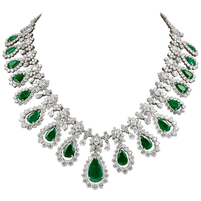 Two-Tone Diamond, Emerald Necklace For Sale