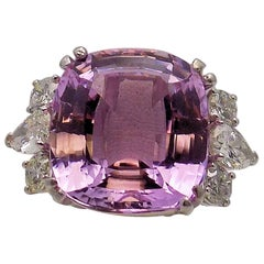Platinum and 14 Karat White Gold Kunzite and Diamond Ring