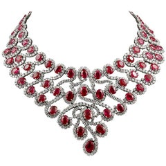 18 Karat Gold Diamond, Ruby Necklace