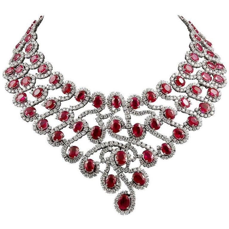 18 Karat Gold Diamond, Ruby Necklace