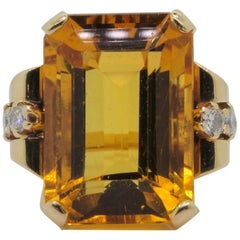 Retro Citrine Diamond Gold Ring