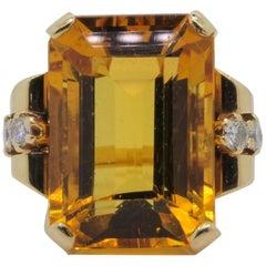 Retro Citrine Diamond Gold Ring