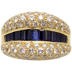 Diamond and Sapphire 18 Karat Yellow Gold Ring