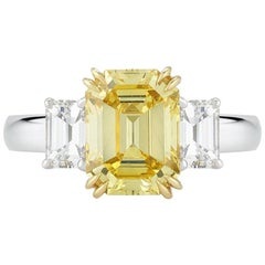 Vivid Fancy Yellow Emerald Cut Diamond Ring in Platinum and 18 Karat Yellow Gold