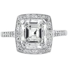 Mark Broumand 2.63 Carat Asscher Cut Diamond Vintage Engagement Ring