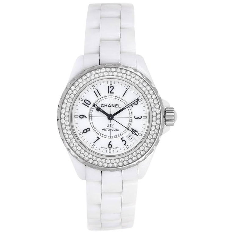 Chanel White Ceramic Diamond J12 Automatic Wristwatch Ref H0969