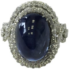 Blue Sapphire Oval Cabochon and Diamond Cocktail Ring