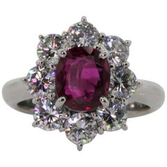 1.82 Carat GIA Certified Ruby Diamond Platinum Ring