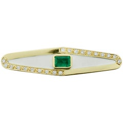 "Emerald Diamond and Enamel Modern Brooch ""Lovari"""