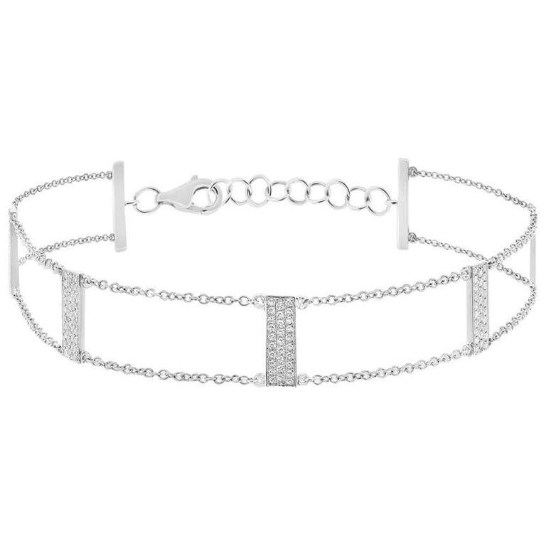 Mark Broumand 0.40 Carat Round Cut Diamond Bar Bracelet in 14 Karat White Gold