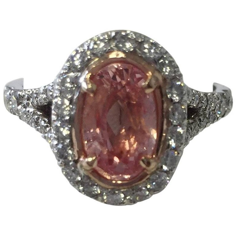 Pink Sapphire Oval Cocktail Ring with Round Diamonds