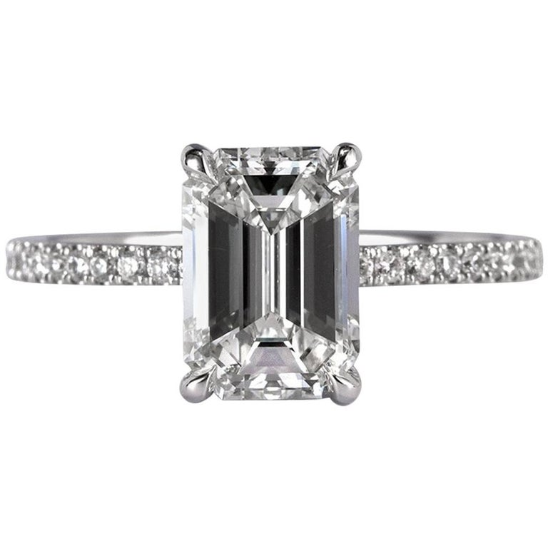 Mark Broumand 2.41 Carat Emerald Cut Diamond Engagement Ring