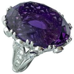 Oversized Amethyst Centering Diamond Platinum Ring