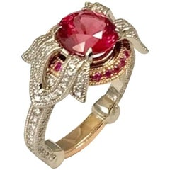2.16 Carat Pink Tourmaline Diamond Engagement Ring