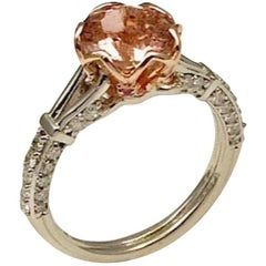 1.96 Carat Peach Tourmaline Set in 14 Karat White and Rose Gold Engagement Ring