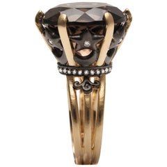 Hand-Carved Dome Ring in Vermeil Gold